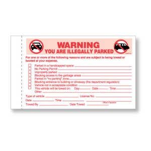 Warning You're Illegally Parked Violation