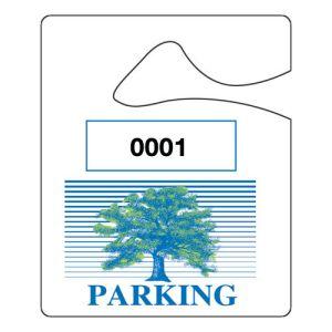 Small Parking Hang Tag - Green & Blue Tree