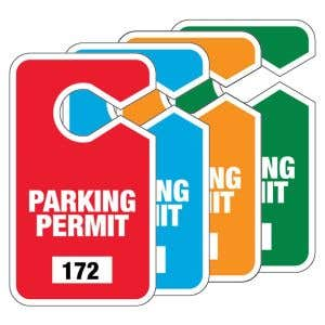 Large Parking Hang Tags - Solid Color