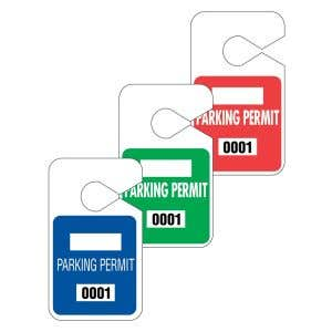 Large Parking Hang Tags - Solid Color Square