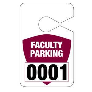 Faculty Jumbo Parking Hang Tag - Maroon Shield