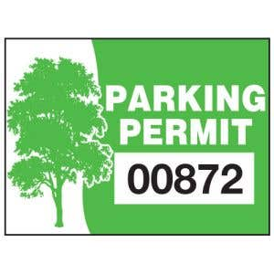 Rectangle Static Cling Parking Permit - Green