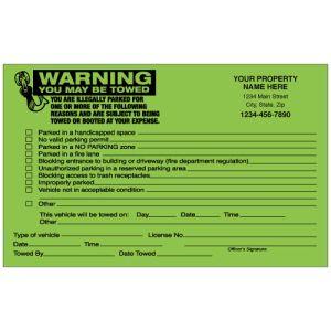 Imprinted Green Fluorescent Parking Violation