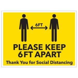 Self-Adhesive Wall Sign - Social Distancing