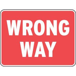 """""""Wrong Way"""" Reflective Sign"""