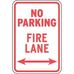 """Fire Lane Signs - """"No Parking Fire Lane"""""""