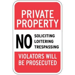 """Private Property Signs - """"Violators Prosecuted"""""""