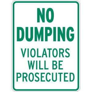 """Rules Signs - """"No Dumping"""""""
