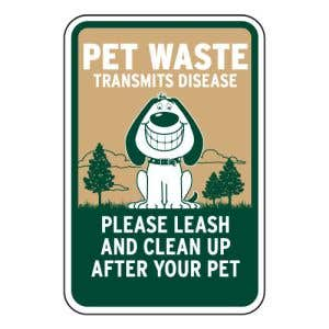 Smiling Dog Pet Waste Sign