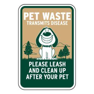Smiling Dog Pet Waste Sign