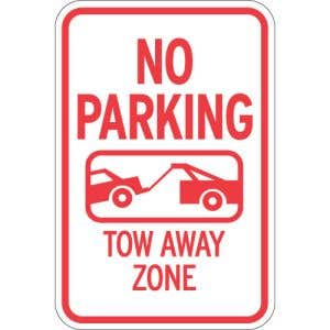 """Towing Signs - """"Tow Away Zone"""" Tow Symbol"""