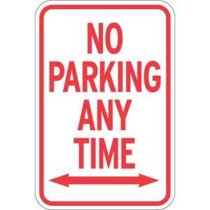 """No Parking Signs - """"Any Time"""" with Arrows"""