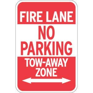 "Fire Lane Signs - ""No Parking"" Arrows"