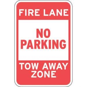 """Fire Lane Signs - """"No Parking Tow Away Zone"""""""