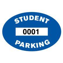 Blue Student Inside Window Parking Sticker